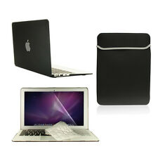 "4 in1 Rubberized BLACK Case for Macbook Air 11"" + Key Cover + LCD Screen+ Bag"