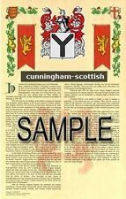 CUNNINGHAM Armorial Name History - Coat of Arms - Family Crest GIFT! 11x17