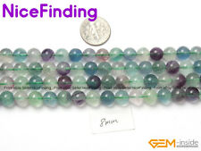 """8mm Natural Stone Fluorite Loose Beads Jewelry Making Necklace Round 15"""""""