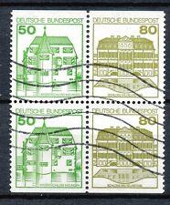 Bundespost combinatie W77 - W78 gebruikt in blok van vier (2)