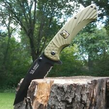 """8"""" US ARMY LICENSED SPRING ASSISTED TACTICAL FOLDING KNIFE Serrated SS Blade"""