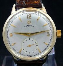 RARE ORIGINAL VINTAGE FANCY 1947 OMEGA BUMPER AUTOMATIC GOLD WATCH SERVICE 344