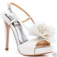 NIB Badgley Mischka Zabrina wedding bridal Flower heels sandals shoes White 10 M