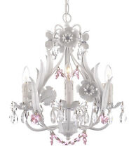 Crystal prisms Girls room Floral ITALY 4 light SOLID White finish Chandelier+