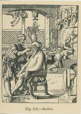ANTIQUE MEDIEVAL BARBER HAIRDRESSER CUTTING HAIR CHARI SINK GROOMING SMALL PRINT