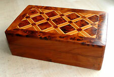 A Vintage Burr Walnut Wood Veneer Art Deco Style Cigar Or Jewelry Wooden Box