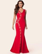 LIPSY JESSICA WRIGHT RED MAXI WITH LACE MESH INSERT PANELS SIZE 10