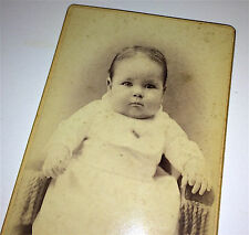 Antique Victorian Adorable Chubby Cheek Child in Chair Old New England CDV Photo