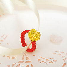 Authentic 24k Yellow Gold Rose Flower Knitted Ring - Leave note for ring size