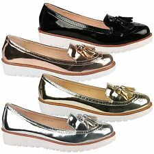 Jade Womens Flats Low Heel Flatforms Chunky Sole Loafers Ladies Tassel Shoes New