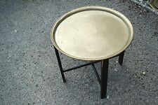 LARGE ANTIQUE BRASS TOP FOLDING TABLE ASIAN INDIAN LAQUERED FOLDING STAND