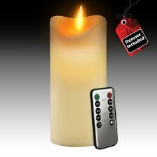 "Gideon 7"" Real Wax Flickering Flameless LED Candle with Remote On/Off, Vanilla"