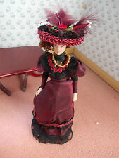VICTORIAN LADY DOLL DRESSED IN RED FOR A DOLLS HOUSE