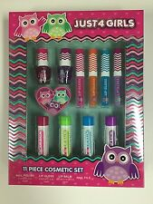 JUST 4 GIRLS 11pc Set COSMETIC SET Lip Gloss+Balm+Nail Polish+File OWL Holiday