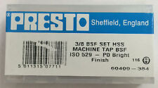 "Presto UK 3/8"" x 20tpi HSS BSF Set of 3 taps / Direct from RDGTools"