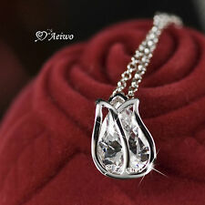 18K GF WHITE GOLD SWAROVSKI CRYSTAL TULIP FLOWER PENDANT NECKLACE SMALL