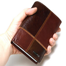 Vintage Mens Leather Wallets Zippered Pocket Travel Wallet Trifold Purse