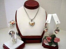"Brighton ""ROSY HEART"" Necklace-Earring-Bracelet Set (MSR$158) NWT/Pouch"