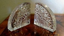 Waterford crystal retired Quadrant pattern bookends w/etched logo on both