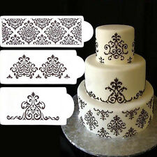 3Pcs Lace Flower Cake Cookie Fondant Side Baking Stencil Wedding Decorating Tool