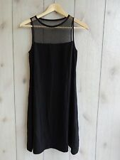 NWT$338 Eileen Fisher Bateau Neck Silk Georgette Dress With Lace Black A-line PP