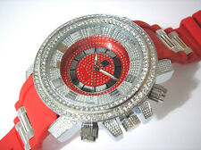 Iced Out Bling Bling Big Case Rubber Band Men's Watch Red Item 2664