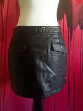 black leather skirt, pepe jeans london size small, short mini skirt with pockets