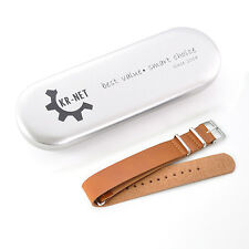 KR-NET MOD Brown Leather Watch Strap Band for Withings Activité Pop Steel US