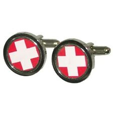 Swiss Flag White Cross Cufflinks Cruise Wedding Party Formal Present Gift Box
