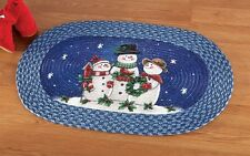 Happy Winter Snowman Family Braided Rug Christmas Winter Holiday Decor New