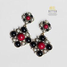 Boucles d`Oreilles Clous Doré Carré Perle Rouge Noir Retro Class BB 11