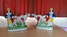 Reproduction New Staffordshire Boy and Cow Figurine