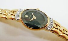 Lassale by Seiko Gold Tone Metal 1F20-2L50 w/ Gems BLK Sample Watch NON-WORKING