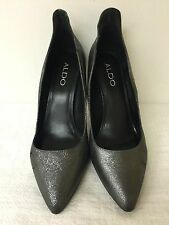 ALDO Women Metallic gray Leather/man made Stiletto Heels Pumps Shoes size 8M