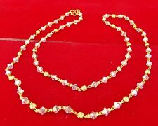 """New South Indian Ethnic Fashion Jewelry Long Gold Plated Necklace Chain 22"""" Cn9"""