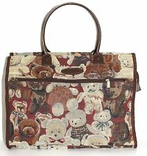 Canvas 2491 Tapestry Vintage Bag Shopper Tote Teddy Bear Design Fashion Hand Bag