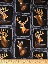 Springs Creative Wintergreen Deer Frames Black 100% Cotton Fabric by the yard