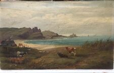19th Century Victorian landscape oil painting on canvas  by George Wright