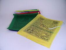 3 ROLLEN TIBET GEBETSFAHNEN Polyester je 1,6m lang 10 bunte Fahnen à 16x19cm neu