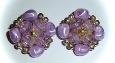 VINTAGE - FACETED & PEARLY LAVENDER BEAD CLUSTER EARRINGS - CLIP-ON