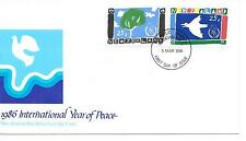 New Zealand 1986 - Int Year of Peace.  Official Post Office FDC. Doves
