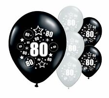 "8 x 80TH BIRTHDAY BLACK AND SILVER 11"" HELIUM OR AIRFILL BALLOONS (PA)"