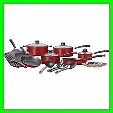 RED Cookware Set Nonstick 18-Piece Durable Pots And Pans Kitchenware Cooking NEW