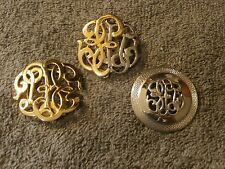 Vintage Silver and Gold Tone Stylized Initial  Dress Clip  Scarf Clip Lot