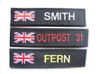 RWB UNION JACK BLACK NAME TAPE or ZAP BADGE DETAILS  VELCRO BACKED  SAS MILITARY