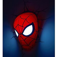 Marvel Spiderman 3d Led Luz De Pared Lámpara Máscara + Stickers Nuevo