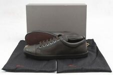 Mens BRIONI Ebano Brown Calf Leather & Alligator Sneakers Shoes 9 D NIB
