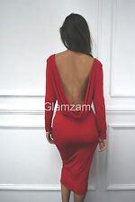 Glamzam New Womens Ladies Low Back Cowl Backless Midi Stretch Party Red Dress