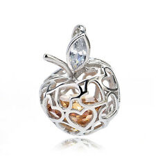 925 Sterling Silver Heart Apple Locket CHARM Pendant Cat-eye cz&citrine Topaz In