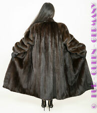 EUR size XL CLASSIC DARK BROWN MINK FUR COAT with STAND UP COLLAR A-LINE